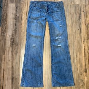 American Eagle wide leg distressed jeans size 4